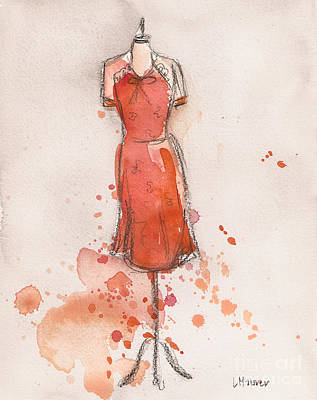 Painting - Peach And Orange Dress by Lauren Maurer