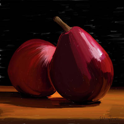 Painting - Peach And Pear 01 by Wally Hampton