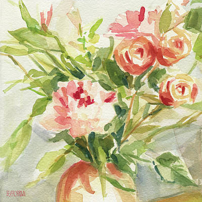 Large Flower Painting - Peach And Yellow Carnations And Roses by Beverly Brown
