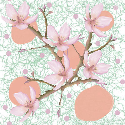 Peach Blossom Pattern Art Print