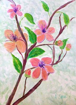 Painting - Peach Blossoms by Anne Sands