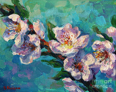 Peach Blossoms Flowers Painting Original by Svetlana Novikova