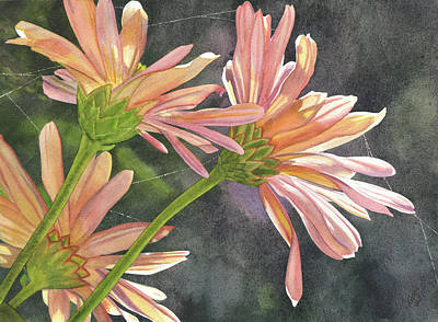 Mums Painting - Peach Chrysanthemums by Catherine G McElroy