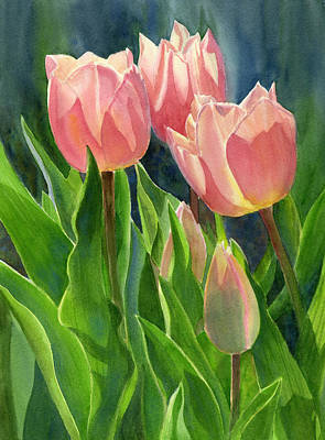 Tulips Watercolor Wall Art - Painting - Peach Colored Tulips With Buds by Sharon Freeman