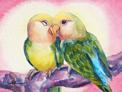 Painting - Peach-faced Lovebirds by Janet Zeh