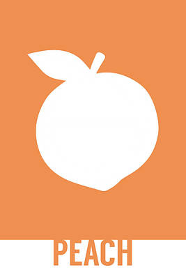 Peach Mixed Media - Peach Food Art Minimalist Fruit Poster Series 007 by Design Turnpike