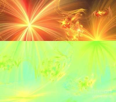 Digital Art - Peach Gold Wishes by Kim Sy Ok