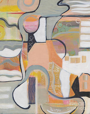 Painting - Peach Gray Abstract  by Patricia Cleasby