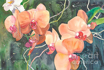 Painting - Peach Orchids by Yolanda Koh