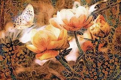 Mixed Media - Peach Peonies by Susan Maxwell Schmidt