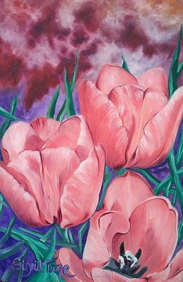 Painting - Perennially Perfect  Peach Pink Tulips by Sigrid Tune