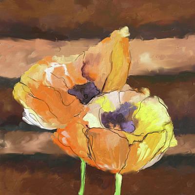 Corn Painting - Peach Poppies 402 I by Mawra Tahreem