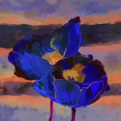 Corn Painting - Peach Poppies 420 II by Mawra Tahreem