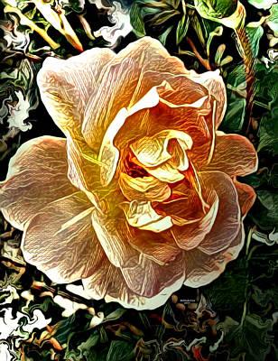 Digital Art - Peach Rose Blossom by Artful Oasis