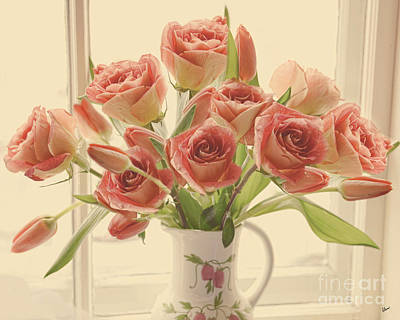 Photograph - Peach Roses And Tulips by Alana Ranney