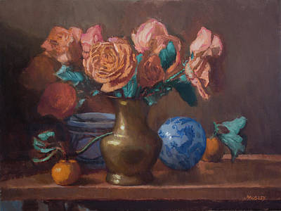 Painting - Peach Roses with Tangerines and Dragon Ball by Walter Lynn Mosley