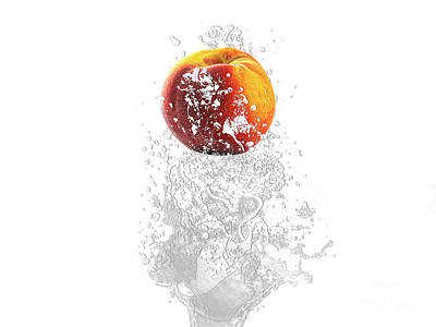Peach Splash Art Print by Marvin Blaine