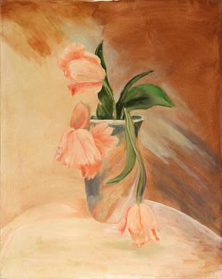 Peach Tulips Art Print by Betty Stevens
