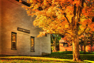 Autumn Scene Photograph - Peacham Town Hall - Vermont In Autumn by Joann Vitali