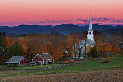 Photograph - Peacham Village Fall Evening by Tim Kirchoff