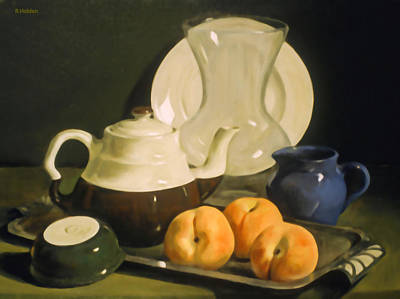 Painting - Peaches And Coffeepot On Art Deco Silver Platter by Robert Holden