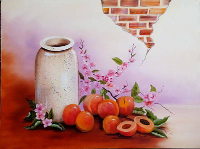 Peaches And Cream Original by Mary Matherne