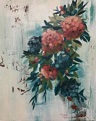Painting - Peaches And Navy by Laura Cottrell
