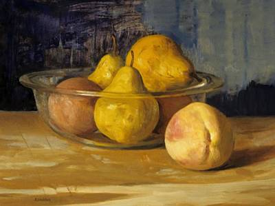 Painting - Peaches And Pears In Pyrex Bowl by Robert Holden