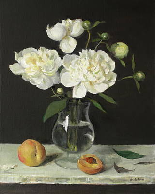 Painting - Peaches And Peonies On A Ledge by Robert Holden