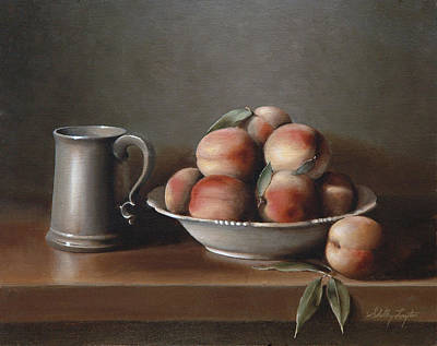 Peaches And Pewter Art Print by Shelley  Thayer Layton