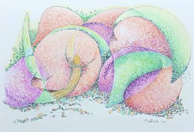 Green Drawing - Peaches And Plums by Dave Martsolf