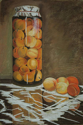 Canned Fruit Painting - Peaches In A Glass Jar. by Daria Dorogan