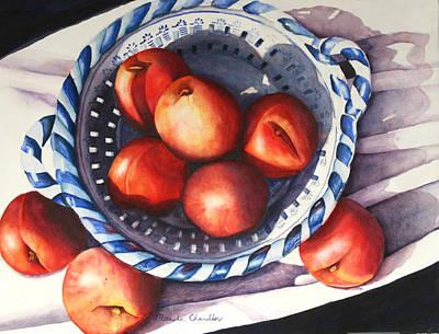 Peaches In Blue Art Print by Marsha Chandler