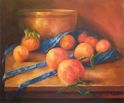 Ceramic Mixed Media - Peaches With Apron by Tom Forgione