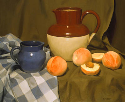 Painting - Peaches, Blue Creamer And Vintage Bi-color Pitcher by Robert Holden
