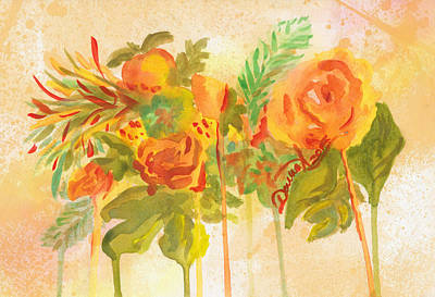 Peachy Bouquet In Yellow Original by Darya Tyshlek