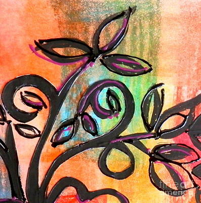 Mixed Media - Peachy Branches by L Cecka