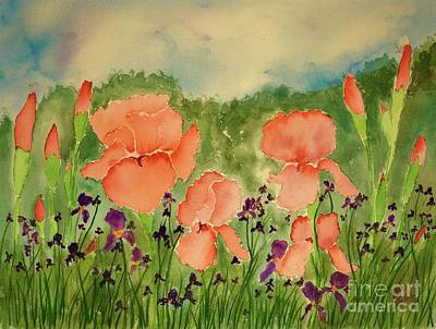 Painting - Peachy Watercolor Iris by Barrie Stark