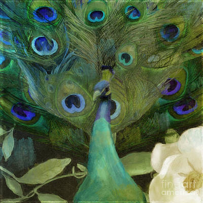 Peacock Bird Painting - Peacock And Magnolia I by Mindy Sommers