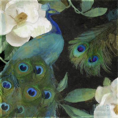 Birds Painting Rights Managed Images - Peacock and Magnolia II Royalty-Free Image by Mindy Sommers