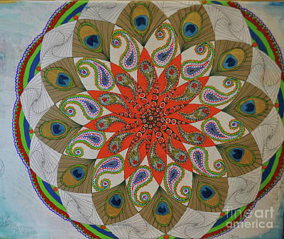 Mixed Media - Peacock And Paisley Mandala by Jeanette Clawson