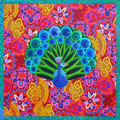 Bright Colours Painting - Peacock And Pattern by Jane Tattersfield