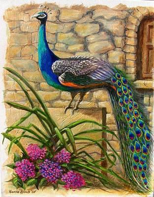 Skiathos Painting - Peacock At Evangelistria by Yvonne Ayoub
