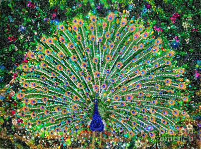 Bead Embroidery Painting - Peacock Beadwork Art Bead Embroidery  by Sofia Metal Queen
