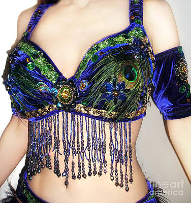 Belly Beads Photograph - Peacock Bra. Ameynra Belly Dance Fashion by Sofia Metal Queen