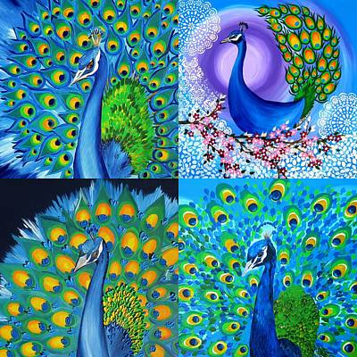 Peacock Drawing - Peacock Collage by Cathy Jacobs