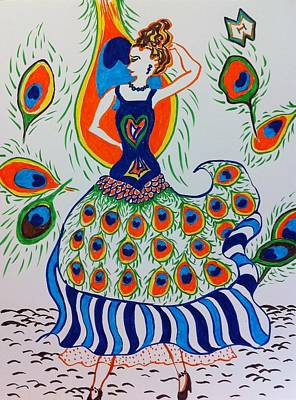 Abstract Movement Drawing - Peacock Dancer by Heather McFarlane-Watson