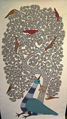 Gond Painting - Peacock by Dilip Shyam