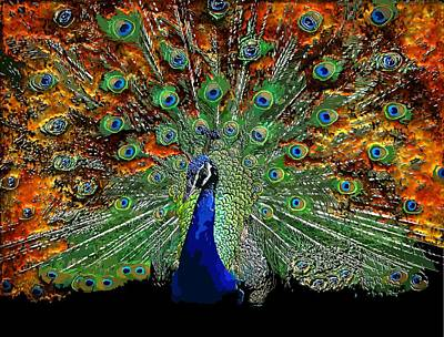 Digital Art - Peacock Exploding by Michael Hurwitz