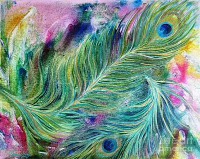 Painting - Peacock Feathers Bright by Denise Hoag